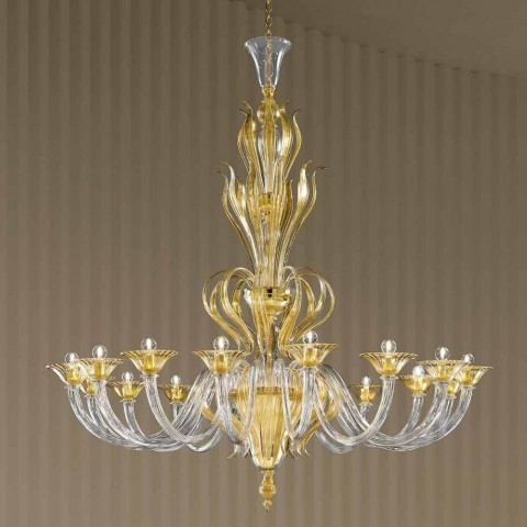 16 Dritat Llambadar qelqi venecian të punuar me dorë, prodhuar në Itali - Agustina