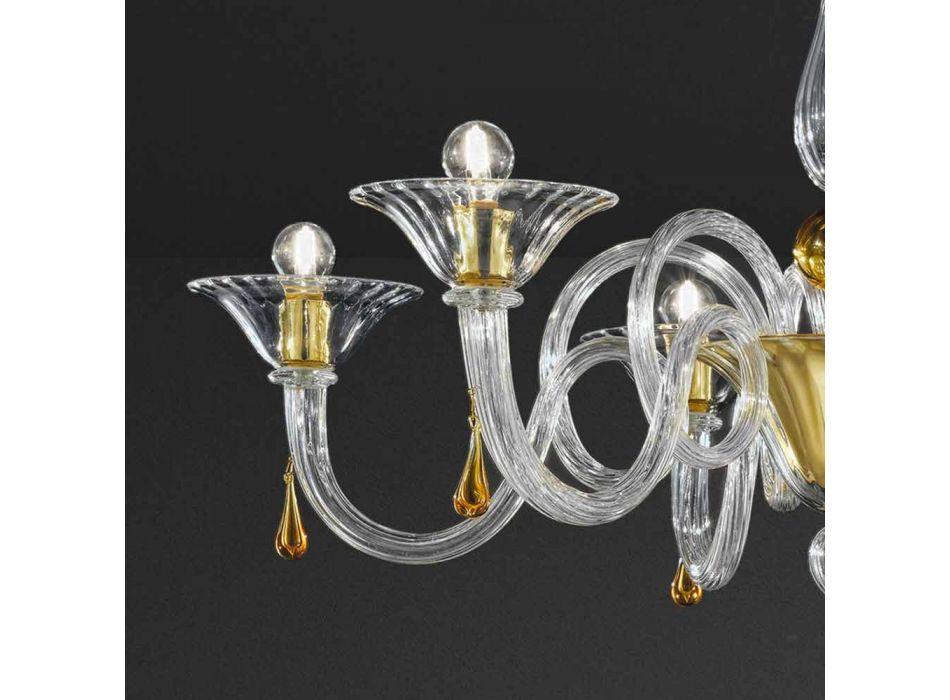 6 Llambadar qelqi venecian i punuar me dritë, prodhuar në Itali - Margherita