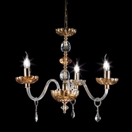 Dizajn klasik 3 llambadarë dritash të bëra prej qelqi dhe kristali Belle