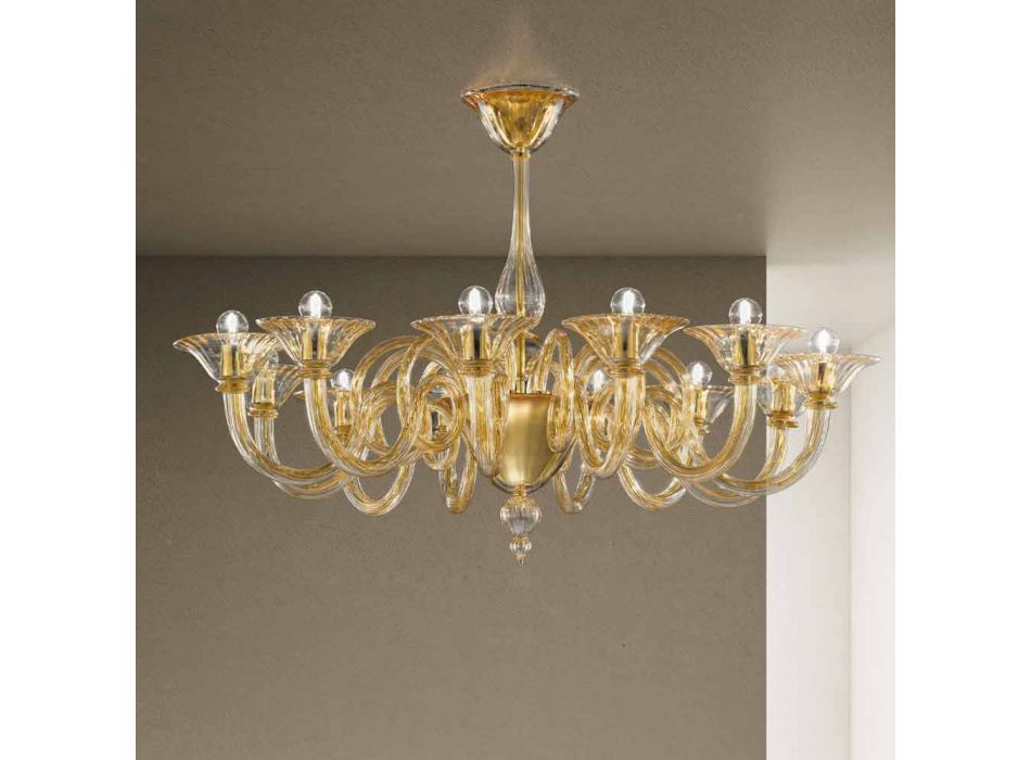 12 Dritat Llambadari prej Xhami Venedikas i punuar me dorë Prodhuar në Itali - Margherita