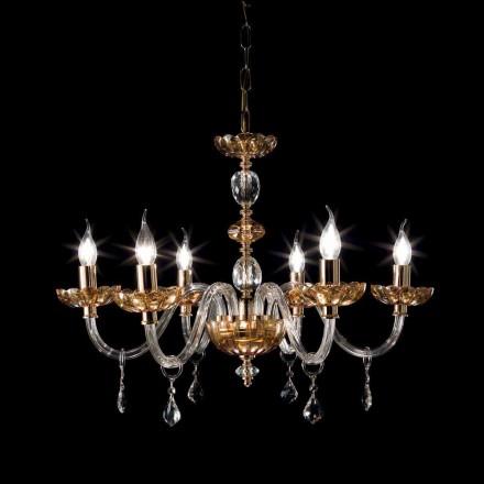 Llambadar me 6 drita i bërë nga kristali dhe qelqi Belle, dizajn klasik