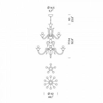 15 drita Llambadari prej qelqi venecian i bardhë dhe i artë, prodhuar në Itali - Agustina