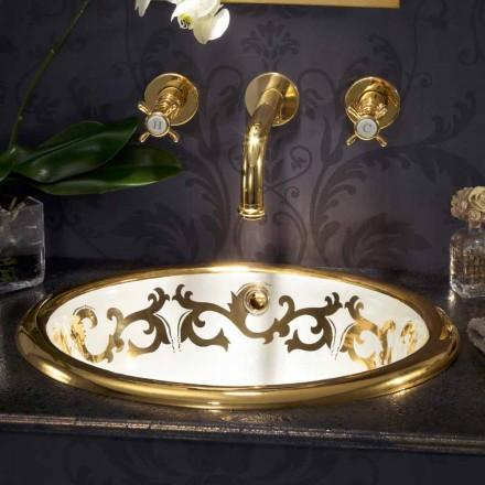 Lavaman i dekoruar i ndërtuar në argjilë zjarri dhe ari 24k i bërë në Itali, Otis