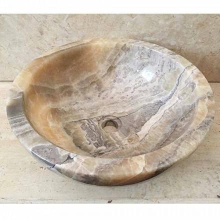 Lavaman banje banjo e bërë nga guri natyral onyx Ana, punuar me dorë