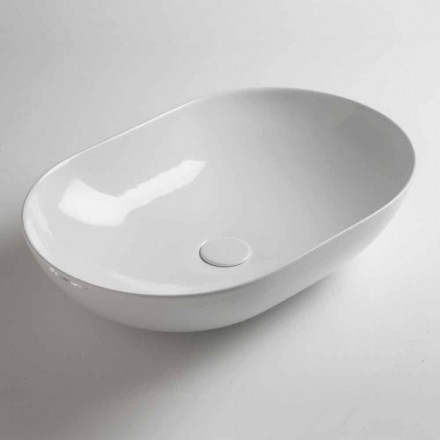 Washbasin Oval Countertop në Qeramikë me Ngjyra Made në Itali - Zinxhir