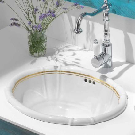 Lavaman i integruar i banjës me porcelan dhe ari 24 karat, Santiago