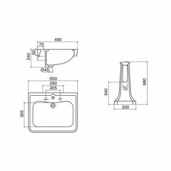 Console Wash Basin në Kolonën e Vjetër në Qeramikë Made in Italy - Marwa