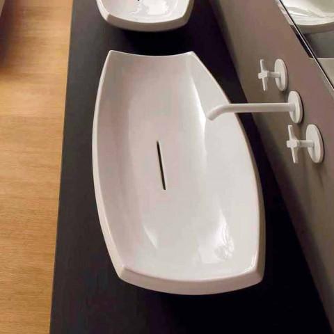 Lavaman qeramike e bardhë me dizajn modern të bërë në Itali Laura