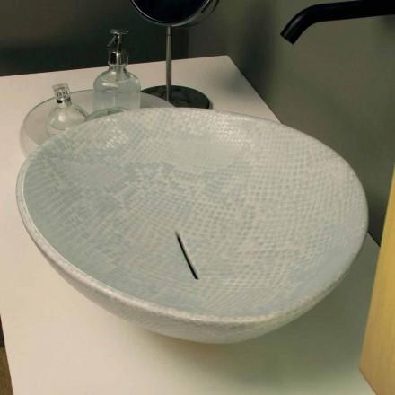 Kafshë countertop të bardha qeramike me model gjarpri, të bëra në Itali