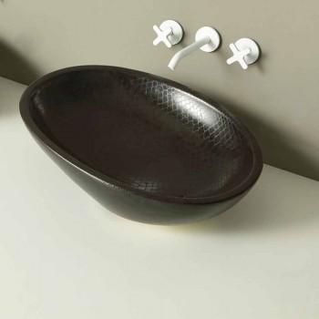 Verifikim Countertop lavaman qeramike e zezë pitoni e bërë në Itali me shkëlqim