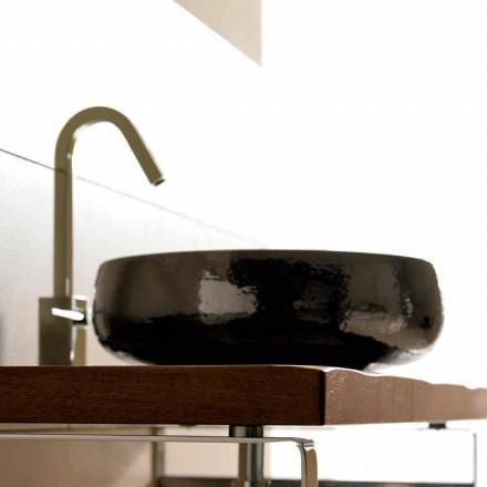 Countertop lavaman në qeramikë të punuar me dorë në raku në Itali, Ramon