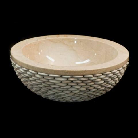 Washbasin Banjo me gurë natyral rrumbullak të bardhë