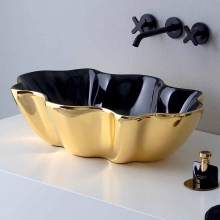Lavaman countertop në qeramikë të artë dhe të zezë të bërë në Itali Cubo