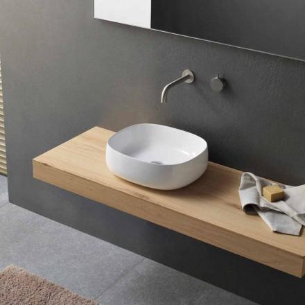 Lavaman countertop në modelin modern oval të qeramikës së bardhë - Akordo3
