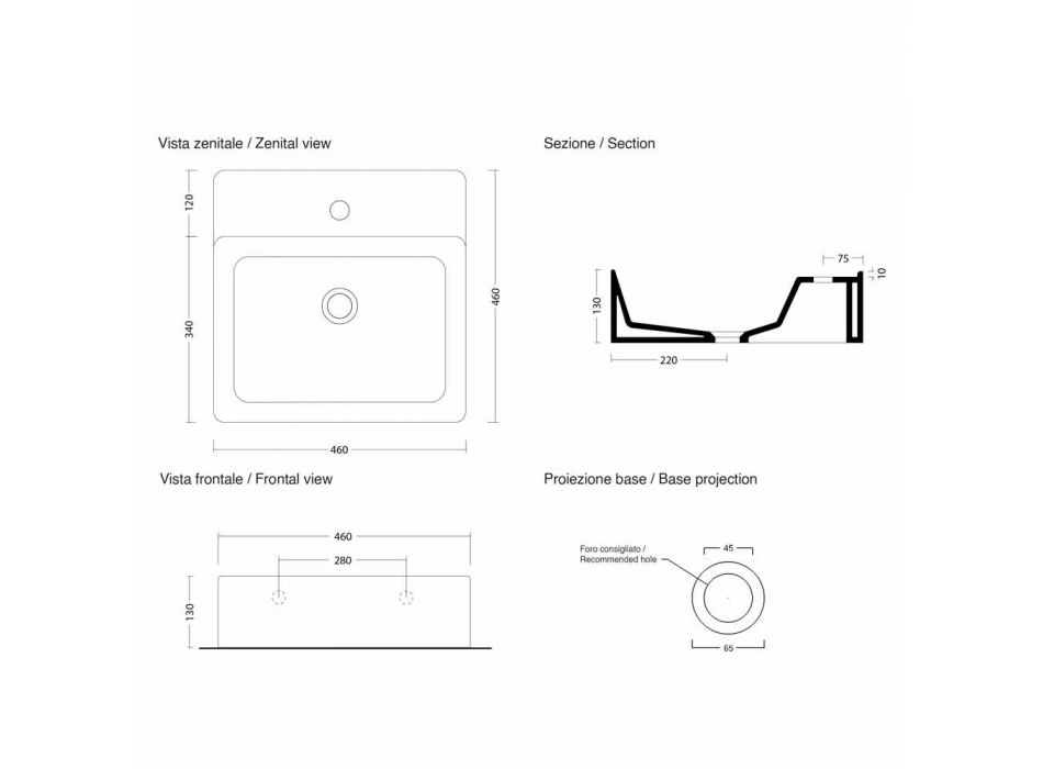 Lavaman Sheshi Countertop Modern në Qeramikë Prodhuar në Itali - Piacione