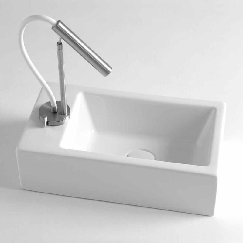 Countertop drejtkëndëshe Washbasin L 44 cm në Qeramikë Made in Italy - Federica