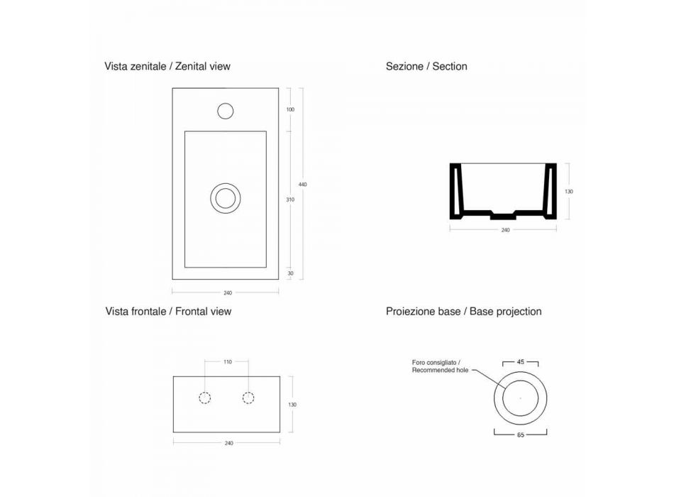 Lavaman Countertop Countertop Rectangular L 44 cm në Qeramikë Prodhuar në Itali - Federica