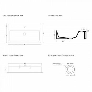 Lavaman Countertop Countertop Rectangular L 80 cm në Qeramikë Prodhuar në Itali - Piacione