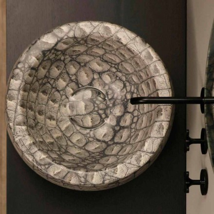 Mbytet e rrumbullakët qeramike e rrumbullakët Elisa me model kaiman, e bërë në Itali