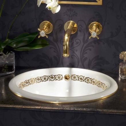 Lavaman i integruar i banjës në argjilën e zjarrit dhe ari 24k i bërë në Itali, Otis