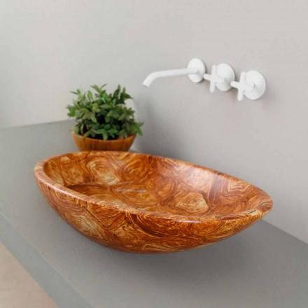 Lavaman moderne qeramike countertop me shkëlqim, model breshkë, e bërë në Itali