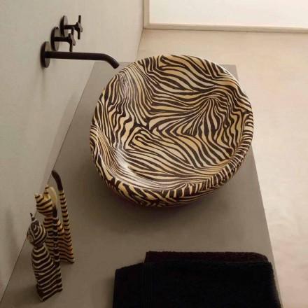 Countertop qeramike portokalli me shkëlqim me model zebra, bërë në Itali
