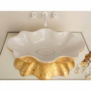 Lavaman dizajn Countertop në qeramikë të bardhë dhe ari të bërë në Itali Cubo