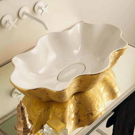 Ari dhe bardha pellgje qeramike moderne countertop Cubo, e bërë në Itali