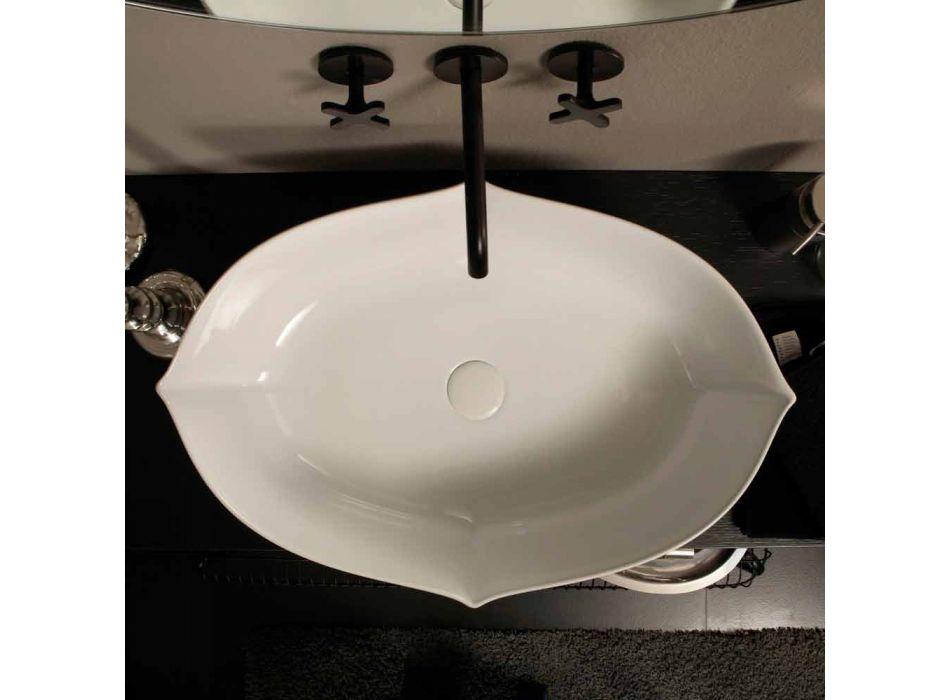 Lavaman dizajn Countertop në qeramikë të bardhë të bërë në Itali Oscar