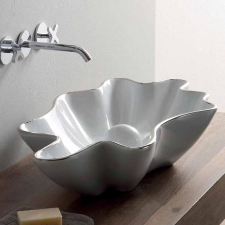 Lavaman moderne countertop në qeramikë të bardhë të bërë në Itali Rayan