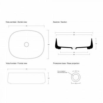 Lavaman Countertop Oval L 50 cm në Qeramikë Prodhuar në Itali - Lanyard