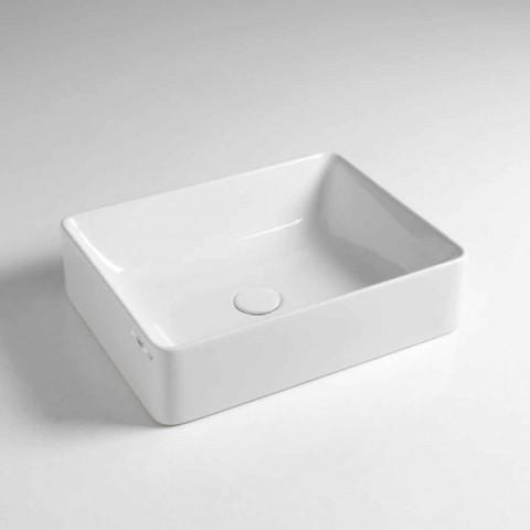 Countertop drejtkëndëshe Washbasin L 50 cm në Qeramikë Made in Italy - Rotolino