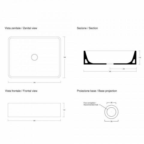 Lavaman Countertop Countertop Rectangular L 50 cm në Qeramikë Prodhuar në Itali - Rotolino