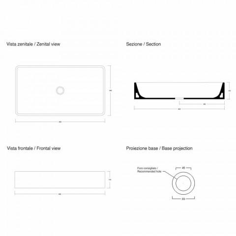 Lavaman Countertop Countertop Rectangular L 60 cm në Qeramikë Prodhuar në Itali - Rotolino