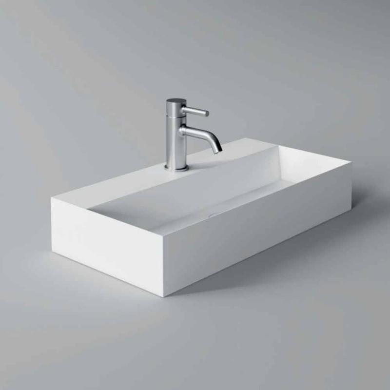 Countertop modern i drejtkëndëshit ose lavaman i pezulluar 60x30 cm në Qeramikë - Akt
