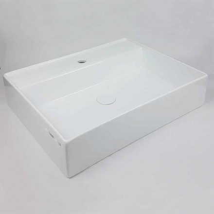 Countertop drejtkëndëshe Washbasin L 60 cm në Qeramikë Made in Italy - Piacione