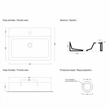 Lavaman Countertop Rectangular L 60 cm në Qeramikë Prodhuar në Itali - Piacione