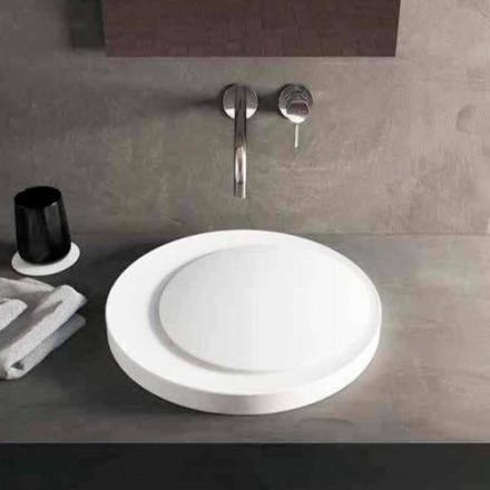 Dizenjoni lavamanin e rrumbullakët me countertop në Luxolid Solid Crema Surface