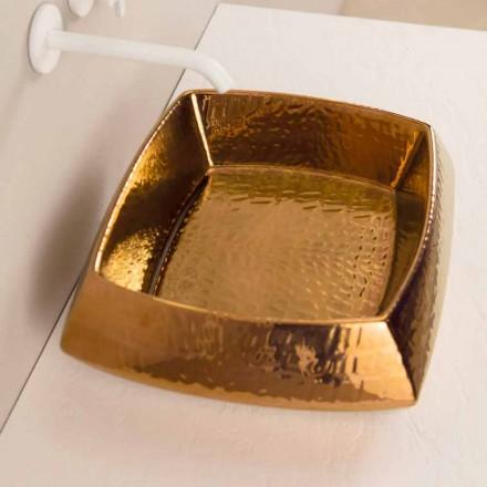 Lavamani countertop prej bronzi prej bronzi Simon, dizajni modern i bërë në Itali