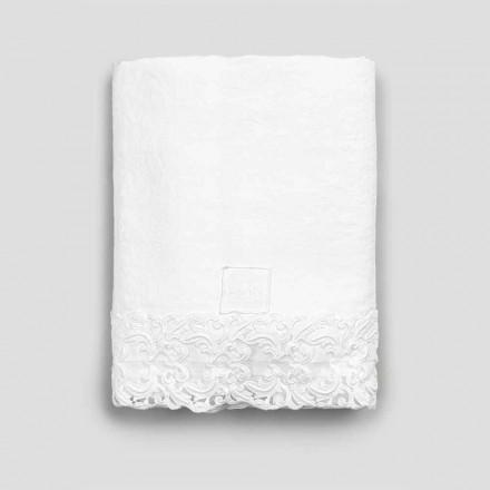 Fletë e bardhë prej liri me dantella për krevat dopio me cilësi të lartë - Fiumana