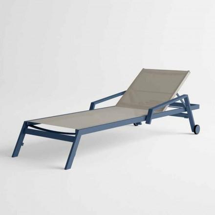 Sunbed në natyrë në alumini me rrota dhe armaturë Dizajn modern - Carmine