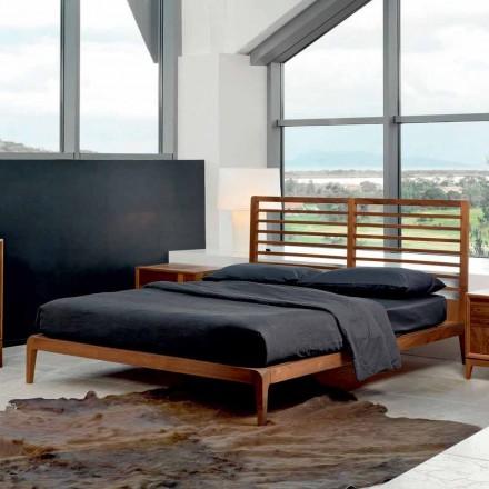 Shtrati i dizajnit modern Didimo, strukturë e ngurtë e shtratit të arrës, e bërë në Itali