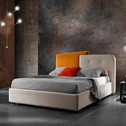 Dizajn Modern krevat dopio në gri dhe kadife portokalli - Plorifon