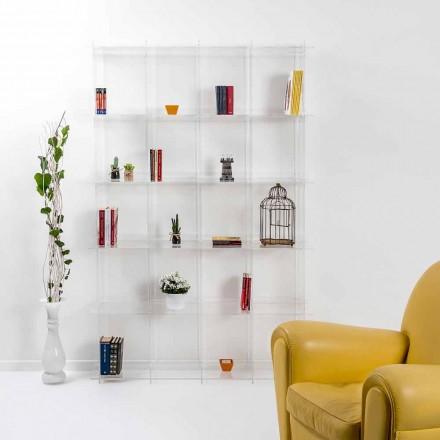 Raft librash transparent i murit plexiglas Sfera4, dizajn modern