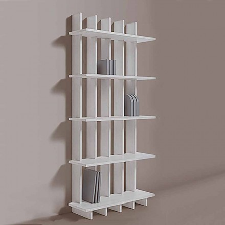 Shabby Chic Wall Bookcase in Ash Wood of Design Modern - Babele