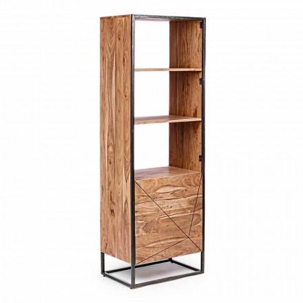 Rafte librash me dysheme me strukturë në dru akacie dhe lëvizje çeliku - Golia