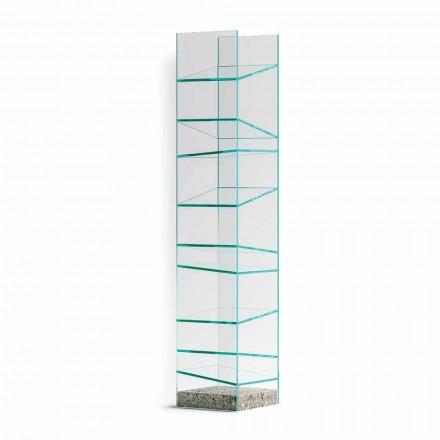 Dizajni Raft librash për dysheme me xham me bazë çeliku të prodhuar në Itali - Biba