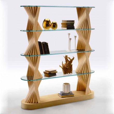 Rafte librash për dysheme luksoze në xham dhe dru hiri të prodhuara në Itali - Aspide