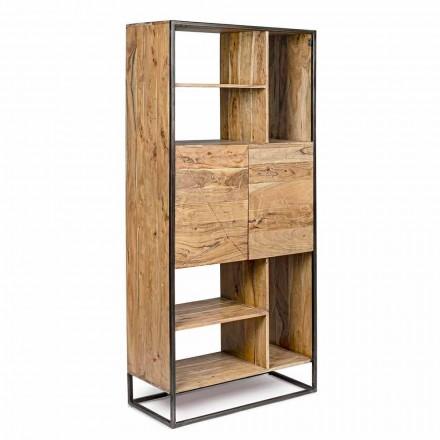 Homemotion - Rreth librash me dysheme Goliath në dru akacie dhe çelik të pikturuar