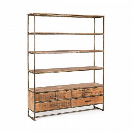 Raft librash për dysheme me stil industrial në lëvizje çeliku dhe druri - Zompo